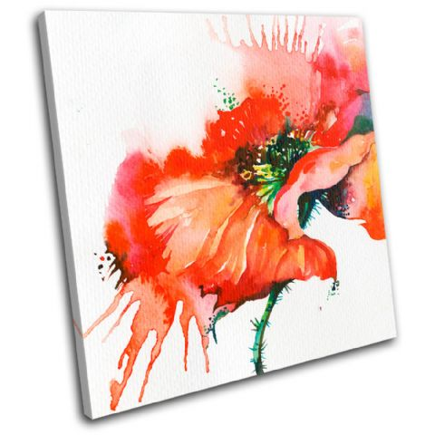 Poppy Watercolour Red Floral - 13-0132(00B)-SG11-LO